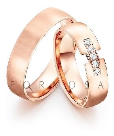 Par De Alianças Prata Banhadas A Ouro Rosé Com 5 Zircônias