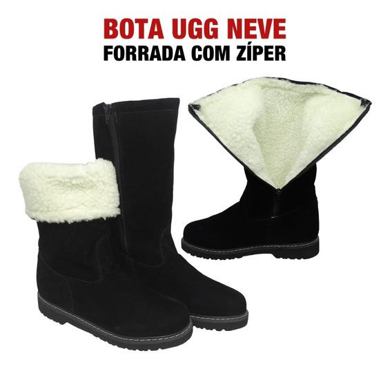 Bota Ugg Feminina C/ Zíper Forrada Lã Inverno Neve Original
