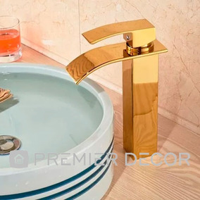 Torneira Monocomando Lavabo Banheiro Bica Alta Prime Dourada