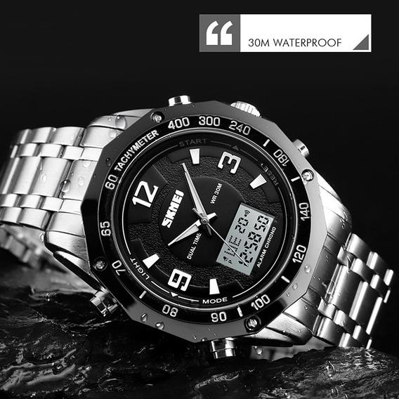 Relógio Digital Skmei 1504 Aço Inoxidável Prata