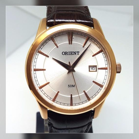 Relógio Masculino Clássico Couro Marrom Aço Rosê Orient