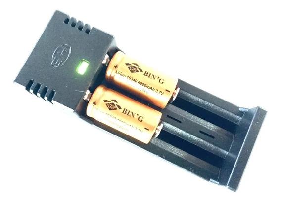 Kit Carregado + 2 Baterias 16340 4800mah 3.7v Recarregável