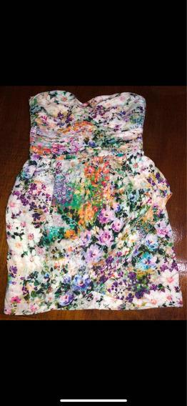 Vestido Strapless Zara Talle S Floreado Multicolor