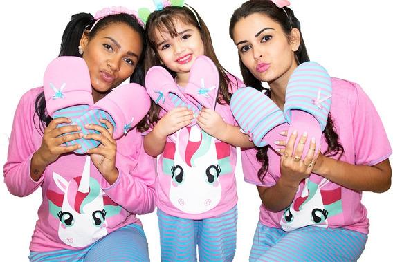 Pijama Infantil Longo Fechado Feminino Cumprido Inverno