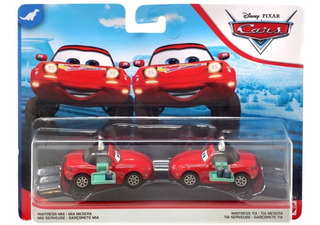 Disney Cars Dinoco 400 Waitress Mia & Waitress Tia - Nuevos!