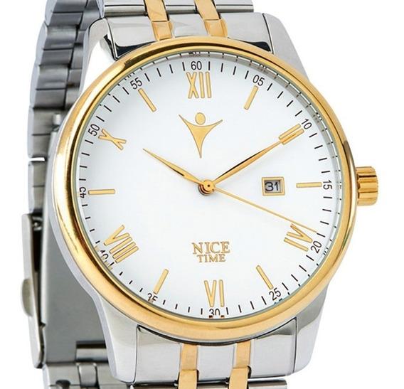 Reloj Caballero De 4 Baños De Oro De 18k Y Correa De Acero
