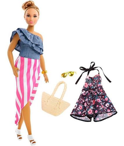 Imagen 1 de 2 de Barbie Fashionista 102 Cabello Castaño Doble Vestido