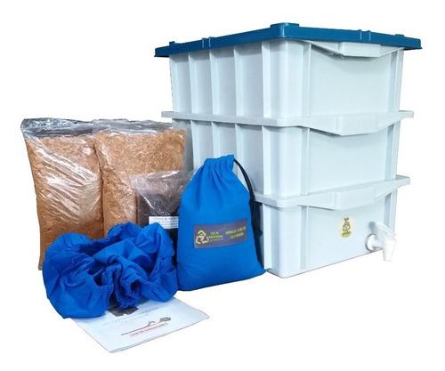 Composteira Doméstica 45 Lts Branca-azul 3 Caixas De 15lts