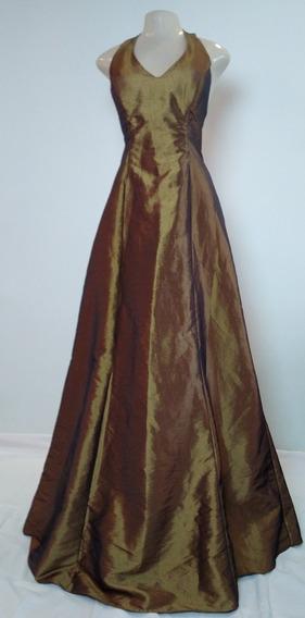 Vestido Ouro Velho Frente Única Em Tafetá