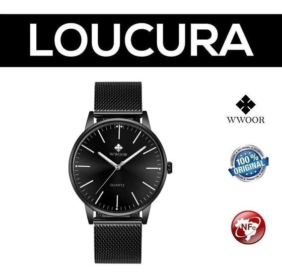 Relógio Masculino Social Luxo Wwoor Preto Pulseira Aço Inox