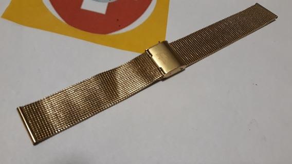 Pulseira Lacóste 20mm Malha Dourada - Única