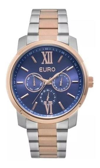 Relógio Euro Feminino Rosê Prata Azul Eu6p29agw/5a Original