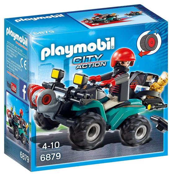 Playmobil 6879 Ladron Con Quad Y Botin Original