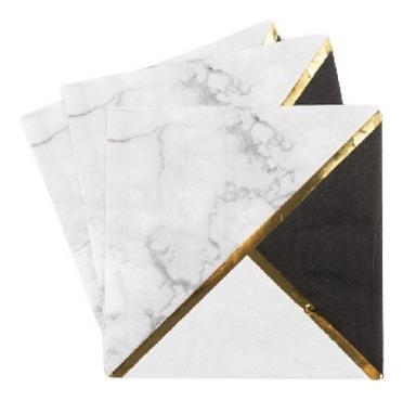 Servilletas Premium Blanco Y Negro, 16.5 Cm, 20u
