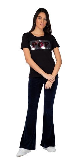 Camiseta Enfim Estampada Preta Feminina 64117