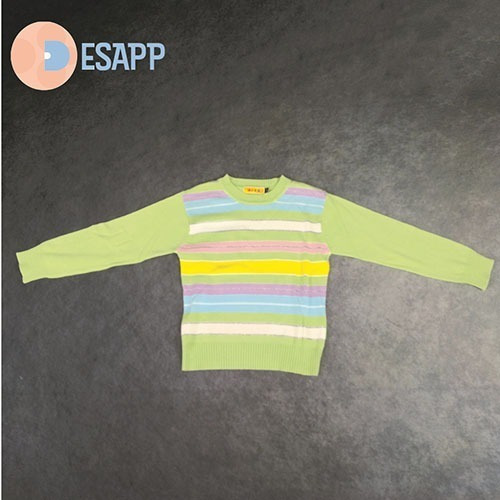 Blusa De Linho Verde Listrada Tamanho 6 Infantil