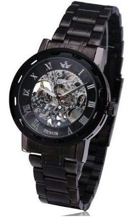 Relógio De Pulso Mecânico Sewor Preto Aço Inoxidável
