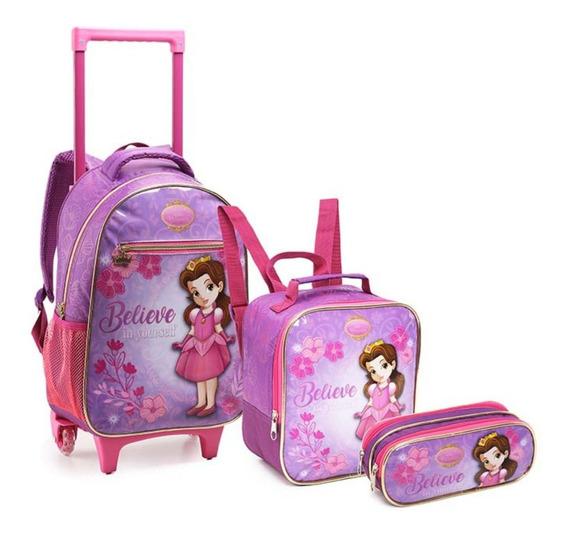 Kit Mochila Escolar Infantil Rodinha Personagem Princesas