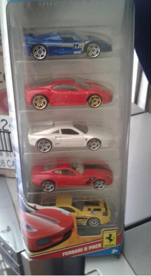 Miniaturas Pack C/ 5 Ferrari Hot Wheels Novo / Lacrado
