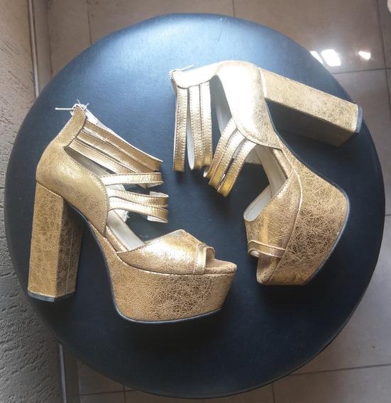Zapatos / Sandalias Doradas De Fiesta