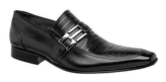 Sapato Social Masculino Bigioni Preto Solado Couro Ref 345