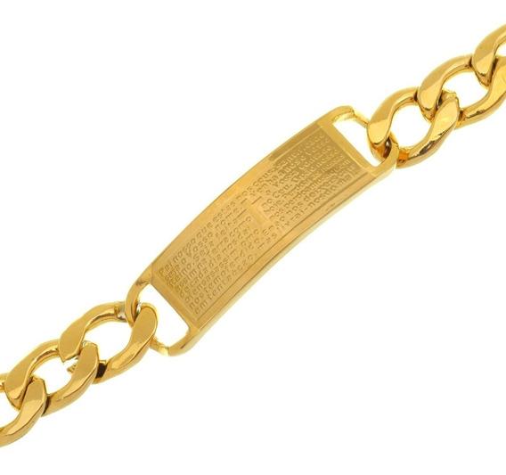 Bracelete Pulseira Grume Placa 14mm Pai Nosso Aço Banho Ouro