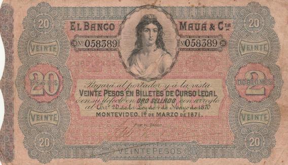 Cedula Do Banco Do Barão De Maua De 1871, 20 Pesos Uruguai