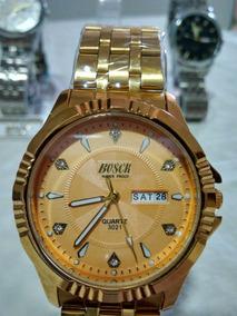 Relógio Masculino Original Banhado Ouro Bosck + Brinde