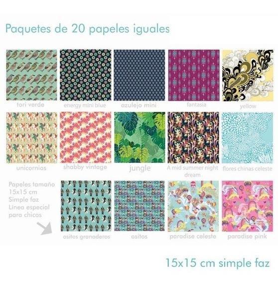 Papel Origami Eriquita 15x15 80grs X20 Hojas Simple Faz