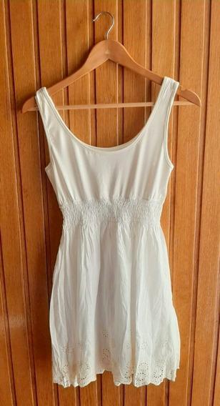 Vestido Corto / Musculosa Larga Blanca Bordada
