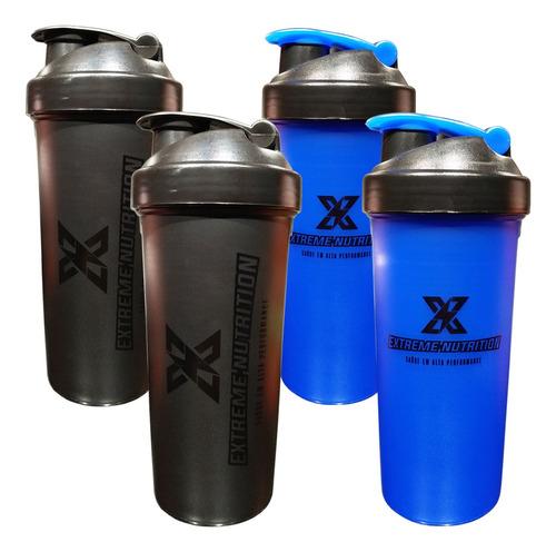 Imagem 1 de 1 de Kit Com 4 Coqueteleiras Preta Azul 700ml Extreme Nutrition