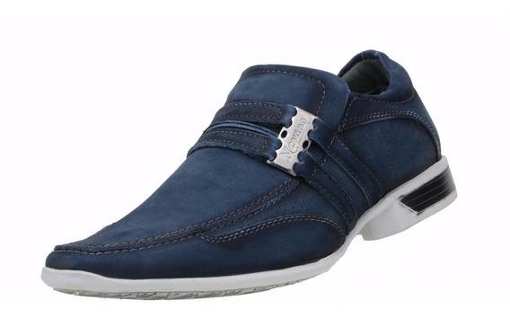 Sapato Social Masculino Nevano Jovem Moderno Couro Azul