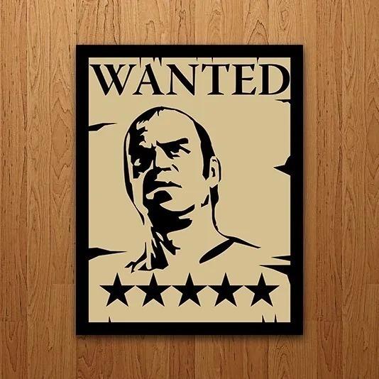 Placa De Parede Decorativa Wanted Gta Rcr Games