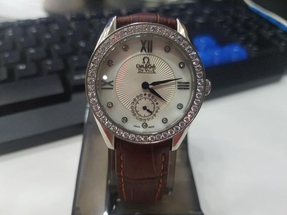 Relógio Ômega De Ville Primeira Linha Aaa Com Plus/ Couro