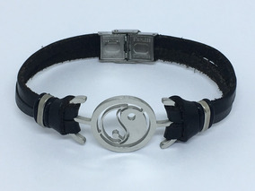 Pulseira Bracelete Couro E Aço - Tai Chi-yin Yang Cod.16