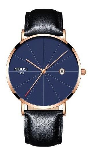 Relógio Masculino Nibosi Pulseira De Couro Original Fino7,5m
