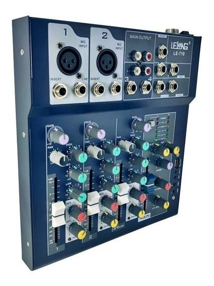 Mesa Controle De Som Usb Bluetooth 4 Ch Canais Le-710 Novo