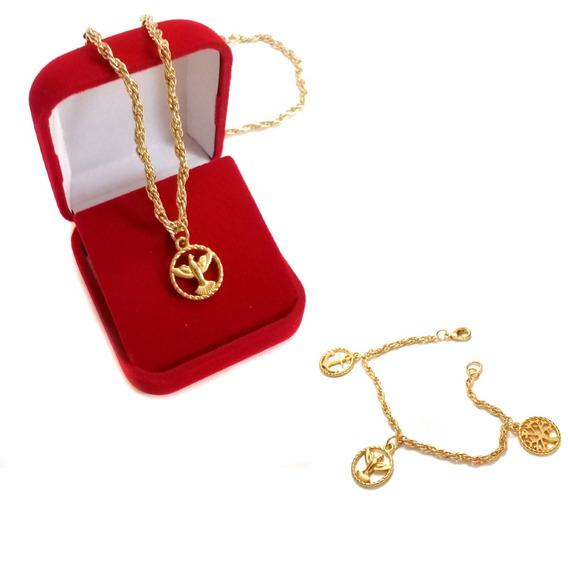 Conjunto Colar E Pulseira Medalhinhas Natal Reveillon Caixa