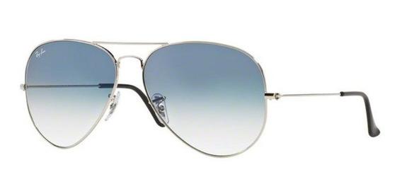 Oculos Sol Ray Ban Aviador Rb3025 003/3f 58mm Azul Degradê