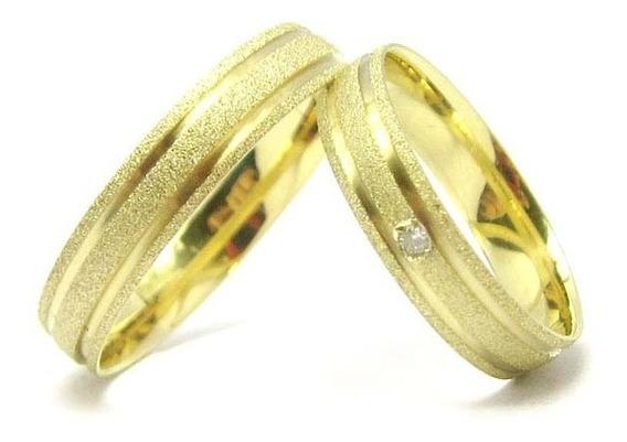Joianete Par Alianças Clássicas Ouro18k 6g 2 Canais Diamante