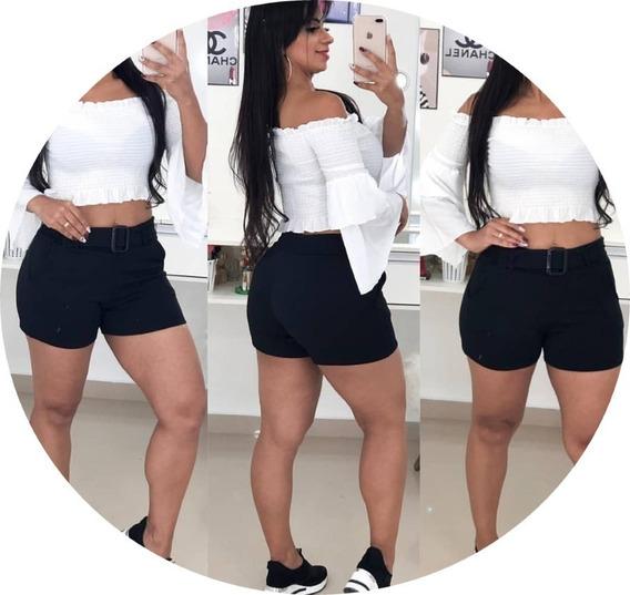 Shorts Feminino Com Cinto Social P,m,g