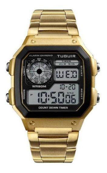 Relógio Unissex Tuguir Digital Tg1335 Dourado Preto Original