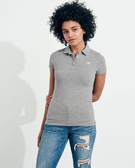 Camiseta Polo Hollister Feminina Importado Cinza T: M & G