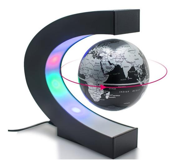 Globo Terraqueo Magnetico Flota Y Rota Luces Deco Importado