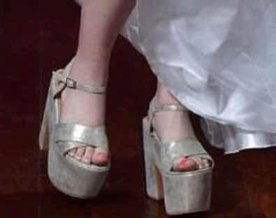 Zapatos De Fiesta Plateados/dorados Con Plataforma