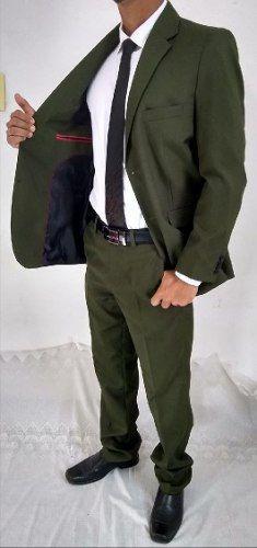 Terno Masculino Slim Oxford Verde Musgo Top Diferenciado + Frete Grátis