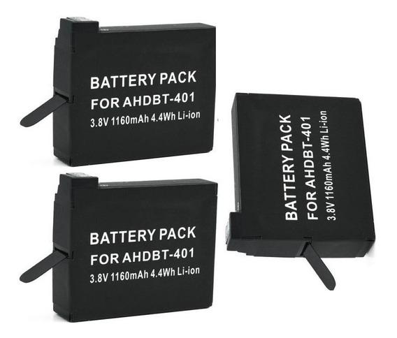 Lote De Três Baterias Ahdbt-401 Para Gopro Hero4 Hero 4 4k