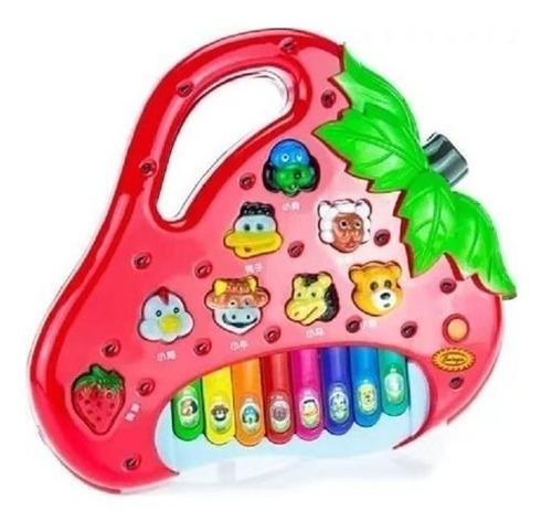 Pianinho Morango Bebê Brinquedo Infantil Educativo Musical