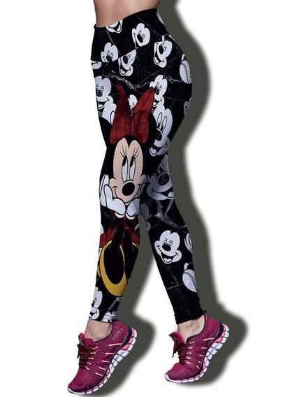 Kit Calça Legging P/ Academia Top, Minnie 2 Pçs