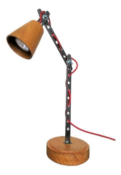 Luminária De Mesa Articulada Madeira Torneada E Ferro- Pixar